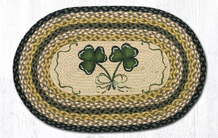 OP-116 Shamrock Hand Stenciled Oval Patch Braided Rug 20x30-OP-116 Shamrock Hand Stenciled Oval Patch Braided Rug 20x30