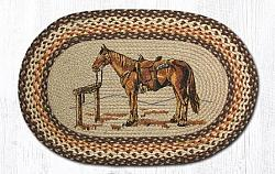OP-129 Horse Hand Stenciled Oval Patch Braided Rug 20x30-OP-129 Horse Hand Stenciled Oval Patch Braided Rug 20x30
