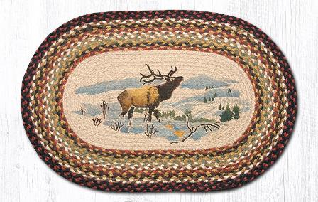 OP-319 Winter Elk Hand Stenciled Oval Patch Braided Rug 20x30-OP-319 Winter Elk Hand Stenciled Oval Patch Braided Rug 20x30