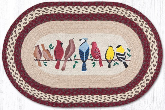 OP-501 Birds on a Wire Hand Stenciled Oval Patch Braided Rug 20x30-OP-501 Birds on a Wire Hand Stenciled Oval Patch Braided Rug 20x30
