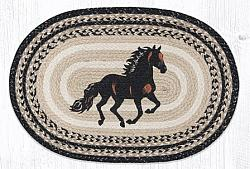 OP-9-093 Stallion Hand Stenciled Oval Patch Braided Rug 20x30-OP-9-093 Stallion Hand Stenciled Oval Patch Braided Rug 20x30