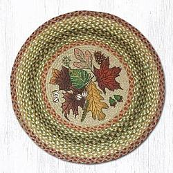 RP-024 Autumn Leaves Hand Stenciled Round Patch Rug 27 In Dia-RP-024 Autumn Leaves Hand Stenciled Round Patch Rug 27 In Dia