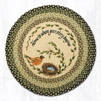 RP-121 Robins Nest Hand Stenciled Round Patch Rug 27 In Dia-RP-121 Robins Nest Hand Stenciled Round Patch Rug 27 In Dia