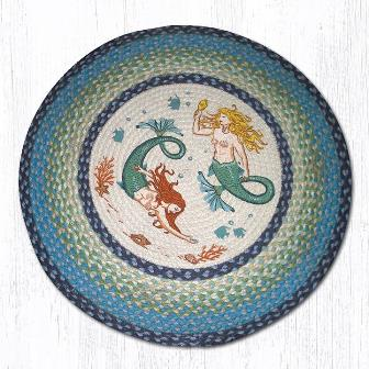 RP-386 Mermaids Hand Stenciled Round Patch Rug 27 In Dia-RP-386 Mermaids Hand Stenciled Round Patch Rug 27 In Dia