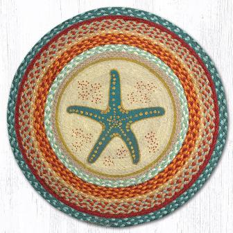 RP-397 Star Fish Hand Stenciled Round Patch Rug 27 In Dia-RP-397 Star Fish Hand Stenciled Round Patch Rug 27 In Dia
