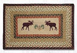 PP-019 Moose-Pinecone Hand Stenciled Rectangle-Oblong Print Patch Rug 20x30-PP-019 Moose-Pinecone Hand Stenciled Rectangle-Oblong Print Patch Rug 20x30