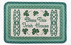 PP-116 Bless This Irish House Hand Stenciled Rectangle-Oblong Print Patch Rug 20x30-PP-116 Bless This Irish House Hand Stenciled Rectangle-Oblong Print Patch Rug 20x30