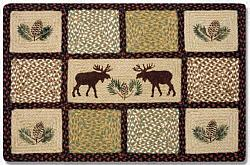 QP-019 Moose-Pinecone Printed Quilt Patch Rectangle Rug 20x30-QP-019 Moose-Pinecone Printed Quilt Patch Rectangle Rug 20x30