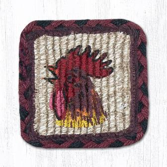WW-391 Morning Rooster Wicker Weave Square Coaster 5x5-WW-391 Morning Rooster Wicker Weave Square Coaster 5x5