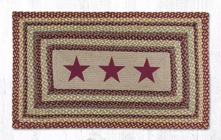 PP-357 Burgundy Stars Hand Stenciled Rectangle-Oblong Print Patch Rug 20x30-PP-357 Burgundy Stars Hand Stenciled Rectangle-Oblong Print Patch Rug 20x30