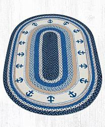 OP-443 Anchor Hand Stenciled Oval Patch Braided Rug 3x5-OP-443 Anchor Hand Stenciled Oval Patch Braided Rug 3x5