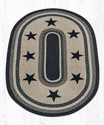OP-313 Black Stars Hand Stenciled Oval Patch Braided Rug 4x6-OP-313 Black Stars Hand Stenciled Oval Patch Braided Rug 4x6