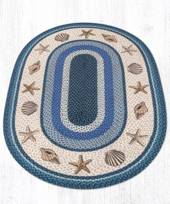 OP-362 Shells Hand Stenciled Oval Patch Braided Rug 4x6-OP-362 Shells Hand Stenciled Oval Patch Braided Rug 4x6