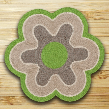 ITCF-06 Lime-Natural Flower Shaped Rug 27x27
