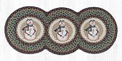 TCP-081 Moon Star Snowmen Printed Tri Circle Braided Runner 15x36-TCP-081 Moon Star Snowmen Printed Tri Circle Braided Runner 15x36
