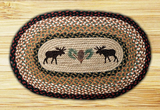 OP-019 Moose-Pinecone Oval Patch 20x30-OP-019 Moose-Pinecone Oval Patch