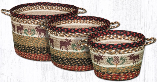 Printed Utility Jute Braided Basket